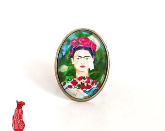 Ring cabochon 18 x 25 mm Cabochon Frida Khalo portrait woman, Mexico, green Fuchsia