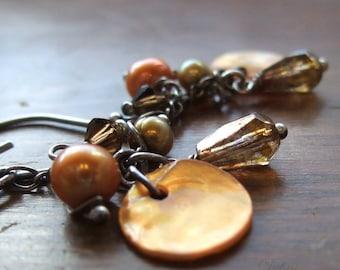 Freshwater Pearl Earrings Copper Shell Earrings Autumn Earrings Fall Fashion Sterling Silver