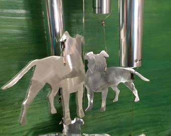 Pitbull with ears custom hand made aluminum wind chimes