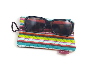 Quilted Front Cotton Fabric Sunglasses Case With Elastic and Button Closure in Striped Pattern-Sunglasses Case-Fabric Sunglasses Case