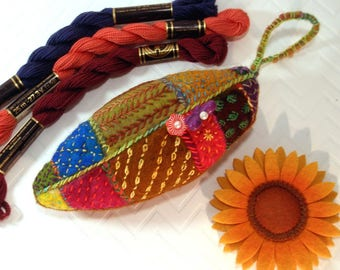 New! Embroidered Leaf Pincushion In hand dyed wool and wool roving. Earth Tones-Handmade- Ready to Ship