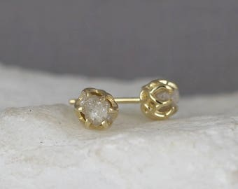 Raw Diamond Earrings - 14K Yellow Gold Filigree Style - Rough Diamond Earring - Uncut, Conflict Free Diamonds - April Birthstone