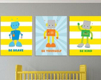 Robot Nursery Wall Art, Robot Prints, Robot Nursery Canvas, Robot Theme, Robot Printables, Inspirational Nursery Prints, Robot Kids Decor