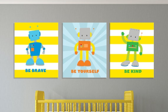 Robot Nursery Wall Art Robot Prints Robot Nursery Canvas