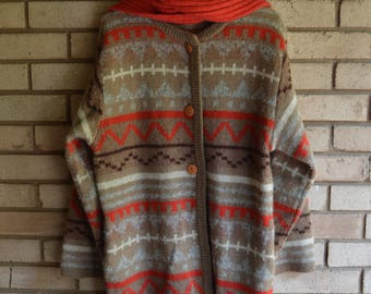 Vintage Southwestern Navajo Sweater Coat with Attached Scarf by Cervelle Medium