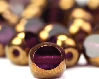Czech Glass Beads Antique Style Triangle 6mm Bronze Amethyst (25) CZF360