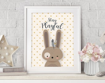 Nursery Decor, Woodland Nursery, Wall Art, Print Nursery Rabbit, Nursery Bunny Art, Neutral Nursery, Neutral Nursery Art, Baby Shower Gift