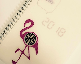 Flamingo monogram vinyl decal