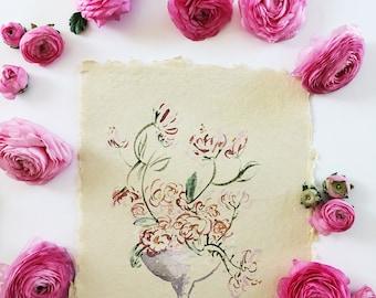 Floral Arrangement Original Abstract Watercolor Painting