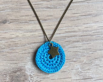 Gwen crochet turquoise blue with star necklace