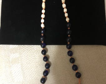 Blue glass, bone and copper beads necklace