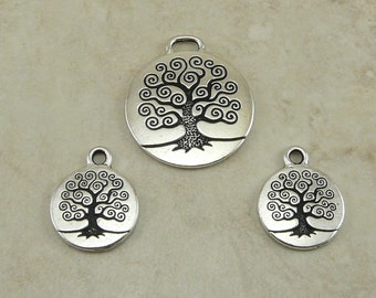 3 TierraCast Tree of Life Charm and Pendant Mix - Bodhi Spiritual Zen Buddhist - Fine Silver Plated Lead Free Pewter I ship Internationally