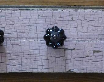 COAT RACK rustic up cycle refurbished ceramic knobs Pink and Black