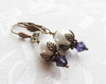 75% Off Clearance Sale, Purple, Pearl, Swarovski Crystal Earrings, Blossom