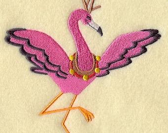 Embroidered Huck Towel - Holiday Reindeer Flamingo