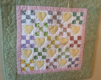 Scrappy Nine Patch With Yellow Hearts