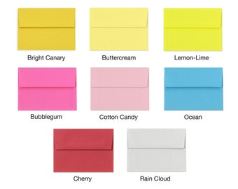 Local Pickup Only - Set of 50 A7 Envelopes - Perfect for 5x7 Photos and Cards - Choose A Color - IN STOCK