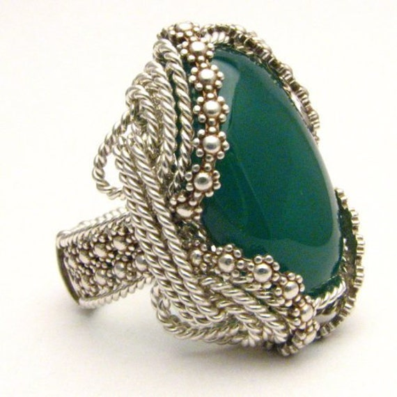 Handmade Sterling Silver Berry Wire Wrap Green Onyx Ring