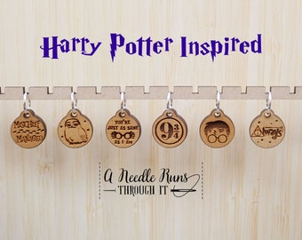 HP inspired Stitch markers set, sock knitter, knitter gift, snag free stitch markers, harry potter inspired, magical stitch markers