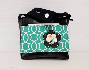 Size aqua patterned Messenger bag made of synthetic leather bags by