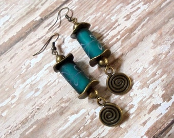 Dark Teal and Brass Earrings (2648)