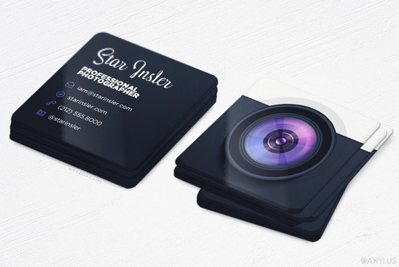 Mini photographer business cards realistic camera square reheart Images