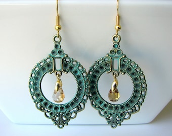 Patina Chandelier Earrings - Turquoise Patina on Antique Bronze Filigree Earrings with Teardrop Glass Crystal  Beads