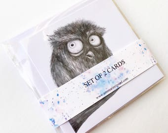 Set of 2 cards, card set, birthday greeting card, owl birthday card