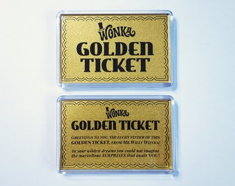 Golden Ticket fridge magnets   Willy Wonka Golden Ticket magnets   stocking filler   stocking stuffer