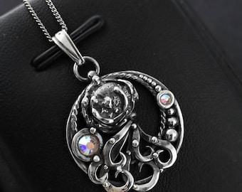 Weird flower, Swarovski jewellery, sterling silver, silver solder pendant, Swarovski necklace, fantasy pattern, Crystal AB, metalwork, fairy