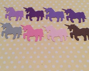 50 colorful UNICORN punches confetti, scrap booking, party,hand punched, you choose color. The unicorns are approximately 1 inch in size.