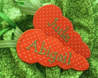 Easter basket name tag - Carrot Easter Name Tag - Carrot embroidered name tag -Personalized tag