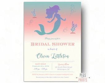 Under the sea bridal shower invitations whimsical underwater ombre mermaid bridal shower invitation printable fairytale bridal shower invitation under the sea filmwisefo Images