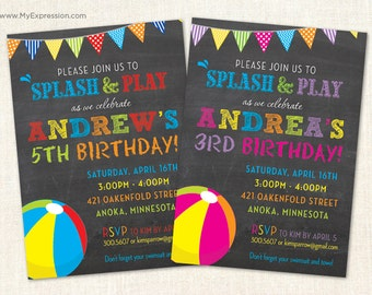 Beach Ball Chalkboard Birthday Invitations - Girl or Boy Pool Party Invitations - Indoor or Outdoor - Digital or Printed