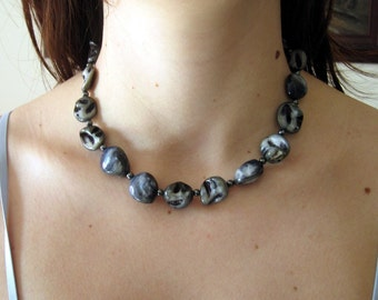 Midnight Blue Chunky Choker Necklace, Natural Shells and Hematites Beaded Necklace, Statement Necklace