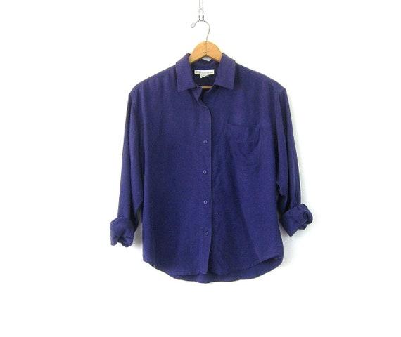 Brushed Silk Top Purple Silk Minimal Button Up Long Sleeve Blouse 90s Minimal Modern Silk Collar Shirt Vintage Womens size Medium