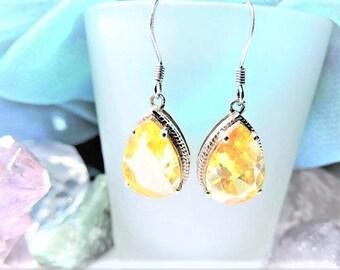 Yellow Sterling Silver Dangle Earrings Pierced