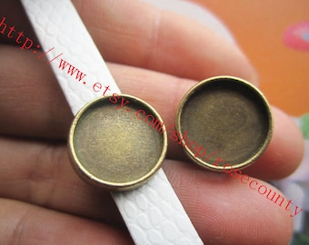 wholesale 100pcs Antiqued bronze 10mm-20mm (cabochon size) for your choose  round bezel trays connetors charms findings--slider style