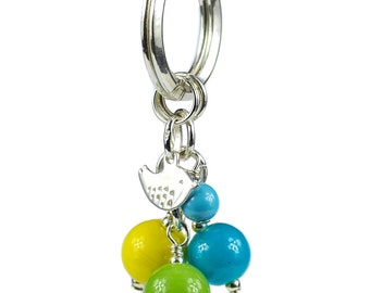 925 Sterling Silver Twitter Bird Key Ring
