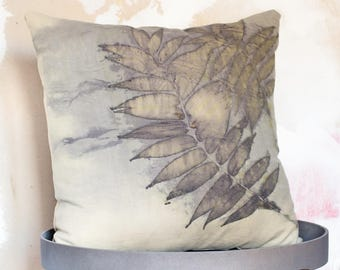 """Eco printed silk-wool blend Throw Pillow Cover 20""""x 20""""  / Natural Fabric/ Rustic Home"""