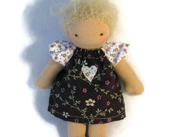 7 to 8 inch Waldorf Doll Dress in brown and white floral prints, toy clothing, tiny doll dress