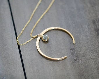 Druzy Moon Necklace ,  Gold Horn Crescent Upside Down Statement Necklace , Long Boho Druzy Pendant , Rose Gold , Silver - Fete