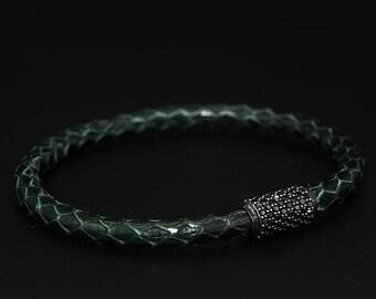 PYTHON   Genuine Python Leather, Mens Leather Bracelet, 925 Sterling Silver, Cubic Zirconia, Handmade Bracelet, Gift for Him, Magnetic Clasp