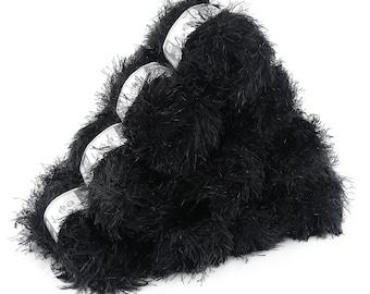 10 x 50g effect yarn lea with fringes, #112 black