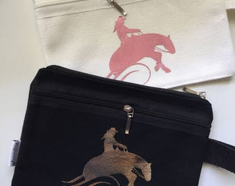 Reining Horse Canvas Make Up Bag