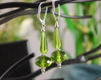 Green czech glass earrings, squared teardrop and rondelle, lever back earrings, green earrings, SRAJD