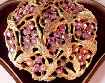 vintage Sarah Coventry floral brooch pin | AB aurora borealis Austrian rhinestones | signed collectible 1960s | gold tone jewelry