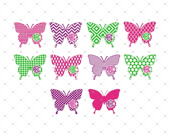 Butterfly Monogram Frames svg cut files for Cricut, Silhouette and other Vinyl Cutters, svg files