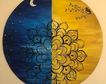Duality Mandala, Acrylic painting on wood, Mandala wall art, Geometric art, Meditation tool, Mandala painting, No frame required, Yoga gifts