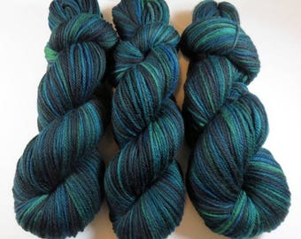 Hand Dyed Superwash Merino Worsted -- Teal and Friends